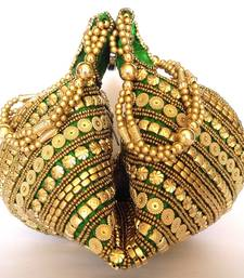 Buy Handmade Satin Beadwork Potli Bag- Green birthday-gift online