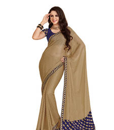Buy beige Colour georgette Fabric With Blouse of dupion_silk embroidered Work Saree satin-saree online