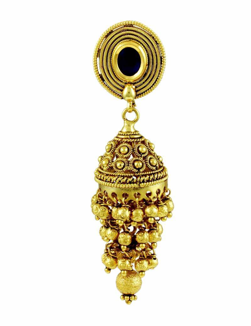 Buy three step green jhumki earrings royal blue stone online