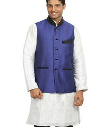 Buy Blue plain designer silk Nehru jacket nehru-jacket online
