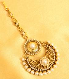 Buy Beautiful pearl polki maang tikka maang-tikka online