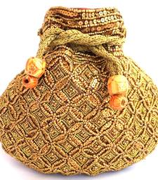 Buy Beaded Drawstring Potli/Batwa- Coffee color potli-bag online