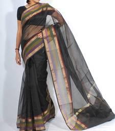 Buy Supernet cotton banarasi zari border saree banarasi-saree online