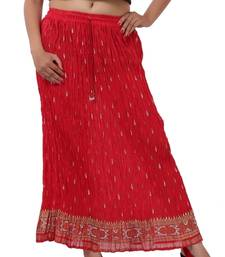 Buy Red Cotton Crinkled Long Skirt skirt online