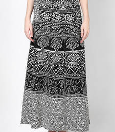 Buy Black n White Jaipuri Printed Cotton Wrap Skirt skirt online