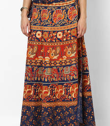 Navy Blue Jaipuri Printed Cotton Wrap Skirt shop online