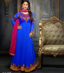 Buy Blue  Pink embroidered georgette semi-stitched salwar with dupatta indian-dress online
