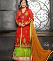 Buy Light Green  Orange embroidered georgette semi-stitched salwar with dupatta indian-dress online