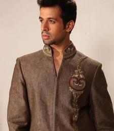 Buy Light brown linen indowestern suit achkan online