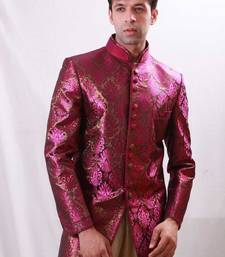 Buy Fuchsia with gold brocade indowestern suit indo-western-dress online