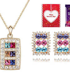Buy Valentine Special The Shinning Diva Necklace Set with Valentine card and chocolate valentine-gift online