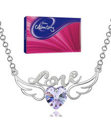 Buy Valentine Special Angel Wings Purple Heart Necklace with celebration wedding-gift online
