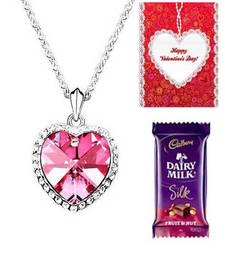 Buy Valentine Special  Crystal Heart Necklace with card and chocolate valentine-gift online
