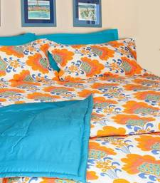 Buy Just Linen - White Base Orange Floral Quilted Comforter quilt online
