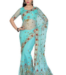 Buy Sky-Blue embroidered Net saree with blouse net-saree online