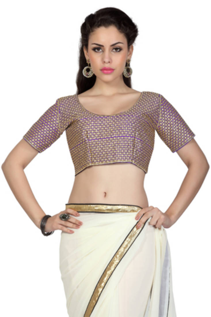 Buy Off-White embroidered georgette saree with blouse Online