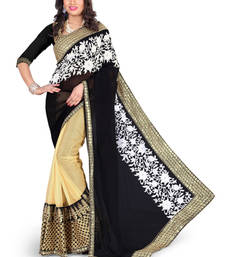 Buy BLACK EMBROIDERY GEORGETTE saree with blouse shimmer-saree online