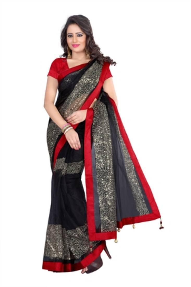 Buy BLACK EMBROIDERY NET Saree With Blouse Online