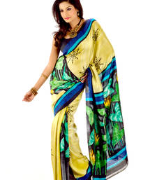 Buy Hand-painted multi colour silk saree silk-saree online
