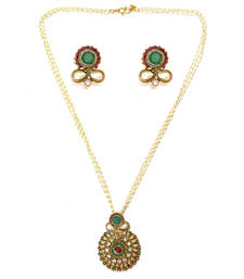 Buy Textured Round Drop Pendant Necklace Set - Green & Red necklace-set online