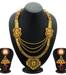 Buy Astonishing Gold Plated Temple Jewellery  4 String Necklace Set for Women necklace-set online