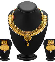 Buy Eye-Catchy Gold Plated Temple Jewellery Coin Necklace Set for Women necklace-set online