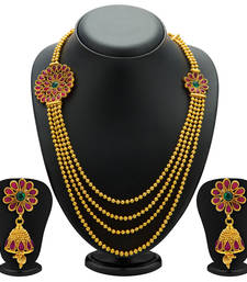 Buy Intricately Gold Plated Four String Necklace Set for Women necklace-set online