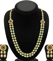 Buy Shimmering Gold Plated Kundan Two String Necklace Set for Women necklace-set online