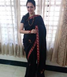 Buy Black  - Maroon hand-woven cotton saree with blouse cotton-saree online