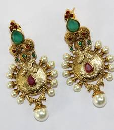 ANTIQUE GOLDEN RED GREEN N WHITE PEARLS HANGINGS  shop online