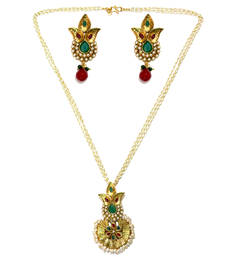 Buy Green & Red Basra Pearls Necklace Set necklace-set online