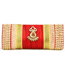 Buy Abqa red silk clutch with crystal brooch and zarii work clutch online
