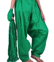 Buy Womens Cottage Forest Green  Cotton Semi Patiala and Dupatta Set salwars-and-churidar online