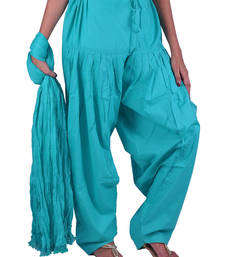 Buy Womens Cottage Sea Green Cotton Semi Patiala and Dupatta Set salwars-and-churidar online
