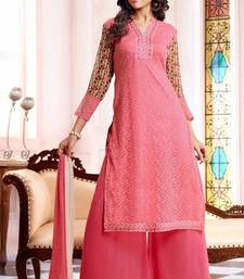Buy Pink embroidered georgette semi-stitched salwar with dupatta party-wear-salwar-kameez online