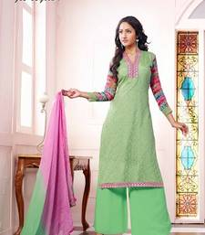 Buy Sea-Green embroidered georgette semi-stitched salwar with dupatta party-wear-salwar-kameez online