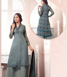 Buy Grey embroidered georgette semi-stitched salwar with dupatta party-wear-salwar-kameez online
