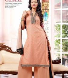 Buy Peach embroidered georgette semi-stitched salwar with dupatta party-wear-salwar-kameez online
