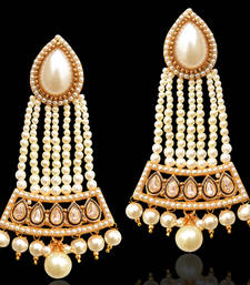 Buy Pearl Mughal India Pakistan Bollywood Earrings Traditional Jewelry danglers-drop online