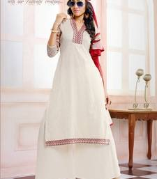 Buy White embroidered net semi-stitched salwar with dupatta party-wear-salwar-kameez online