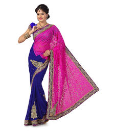 Buy rani-pink And Blue Brasso And Faux Chiffon Embroidered saree with blouse brasso-saree online