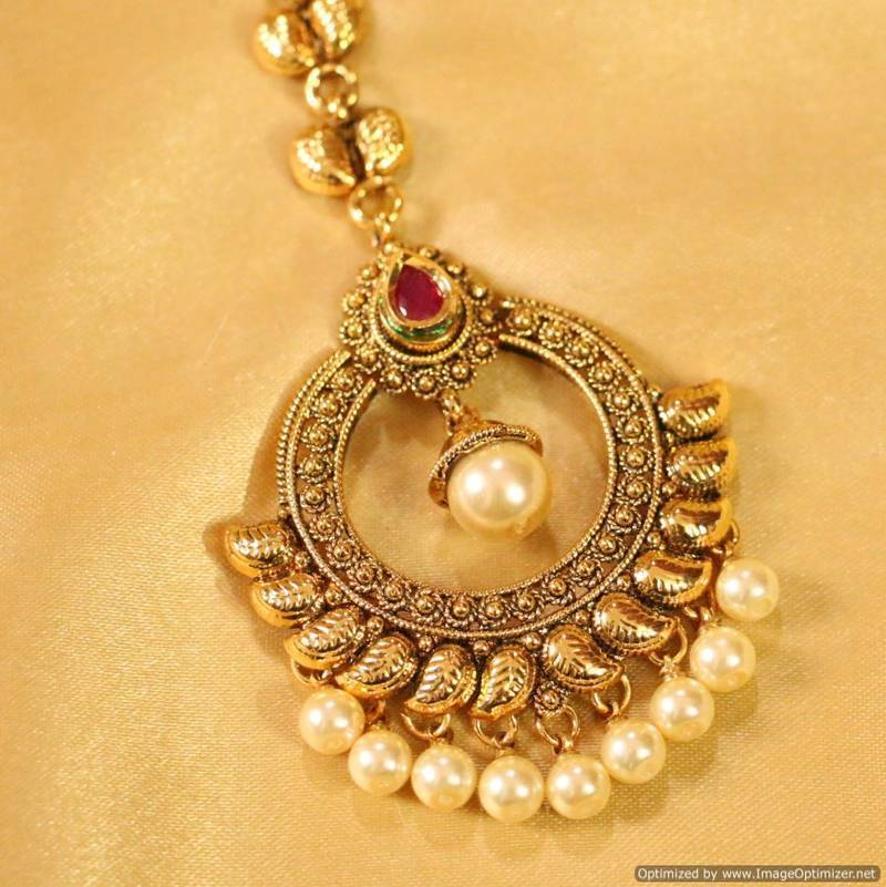 Buy Antique Ruby Amp Pearl Maang Tikka Online