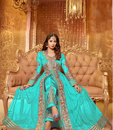 Buy AQUA & BEIGE EMBROIDERED GEORGETTE SEMI-STITCHED ANARKALI SUIT anarkali-salwar-kameez online