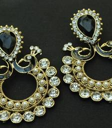 Buy Designer Peacock with Ram Leela Earrings studded with Black Stones hoop online