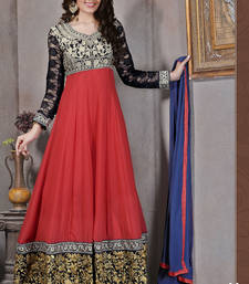 Buy Red embroidered georgette semi-stitched salwar with dupatta wedding-salwar-kameez online