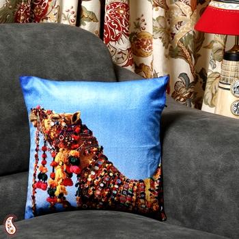 Buy Rajasthani Race Camel Velvet Cushion Cover Online