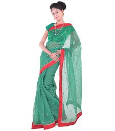 Buy Green plain net  saree with blouse supernet-saree online