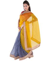 Buy Golden plain net  saree with blouse supernet-saree online