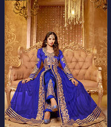 Buy BLUE & BEIGE EMBROIDERED NET SEMI-STITCHED ANARKALI SUIT anarkali-salwar-kameez online