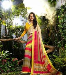 Buy Cream, Yellow  -  Pink  Printed georgette saree with blouse georgette-saree online